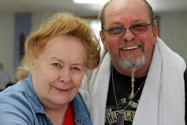 Joan Cox and visitor